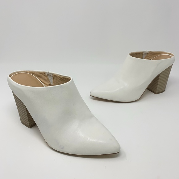 Express White Faux Leather Heeled Mules